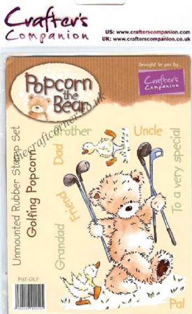 Golfing Popcorn Bear Unmounted Rubber Stamps